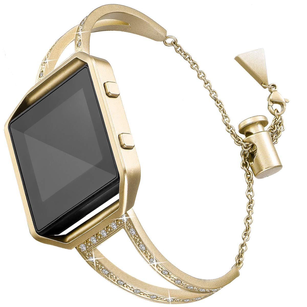 Amcute Compatible with Fitbit Blaze, Women Bling Bands Stainless Steel Metal Dress Jewelry Bracelet Bangle Wristband with Frame, Black, Silver, Rose Pink, Champagne Gold