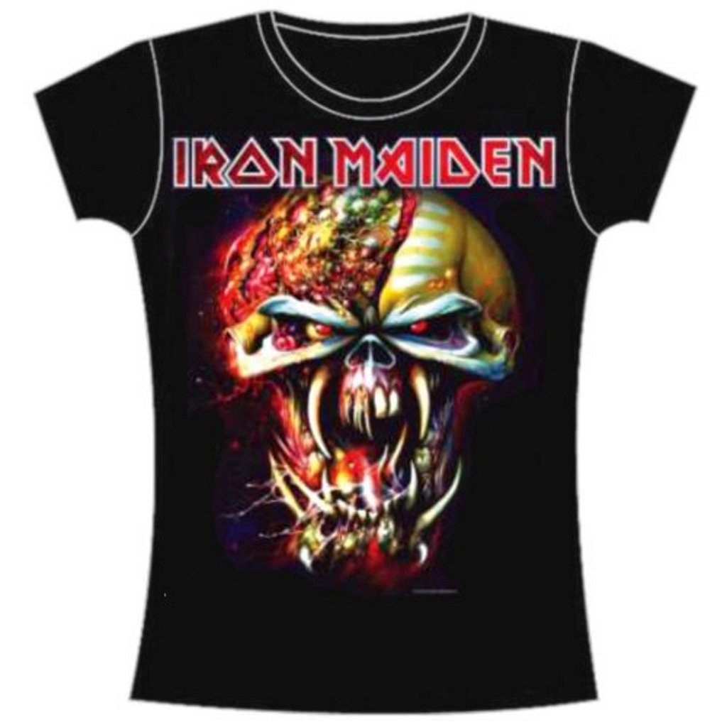 29ce387d Amazon.com: Iron Maiden 'Final Frontier Eddie Big Head' Womens Fitted T- Shirt (Large) Black: Clothing