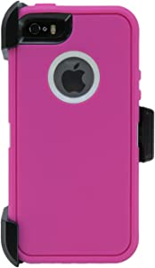 WallSkiN Turtle Series Belt-Clip Cases for iPhone 5S / 5 / SE (2016), 3-Layer Full Body w Screen Protector, Life-Time Protective Cover & Holster & Kickstand & Shock, Dust Proof - Pink/White
