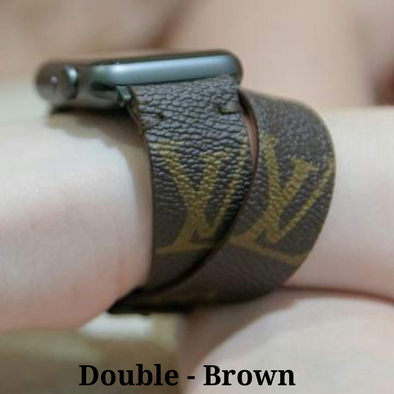 Apple Watch Band Classic L.V. Monogram Double Loop Strap for Apple Watch Series 1, 2, 3, 4, 5 by Leatherian  Handcrafted