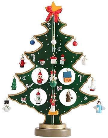 ZZM - Mini árbol de Navidad de Madera, pequeño, para Escritorio, árbol de