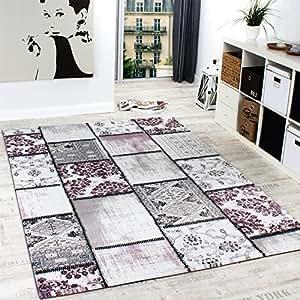 Alfombra de dise o noble patchwork vintage en lila crema - Alfombras dormitorio amazon ...