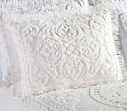 Beatrice Home Fashions Medallion Chenille Pillow Sham, Standard, White ()