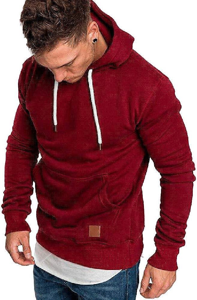 Abeaicoc Men Camo Print Color Block Long Sleeve Raglan Pullover Hooded Sweatshirt