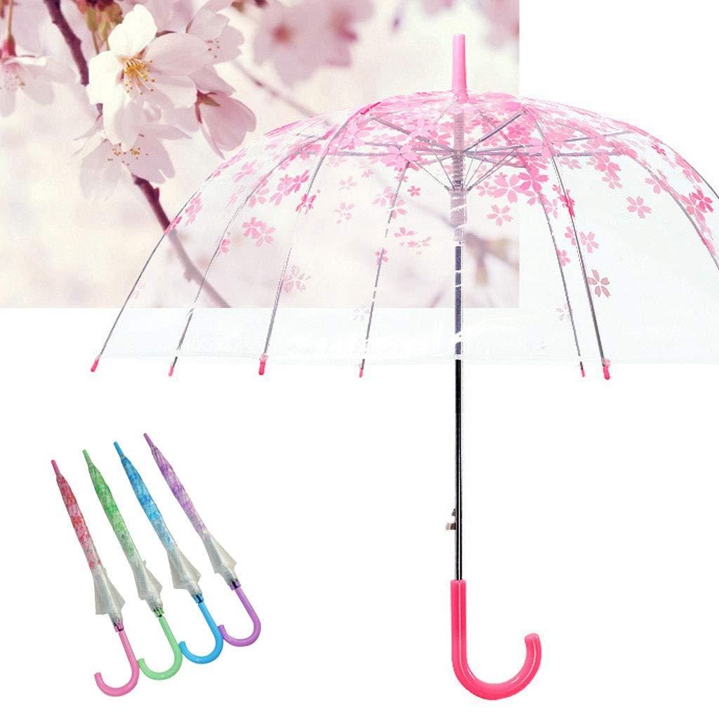 Mentin Parapluie Haut de Gamme, 8 Baleines, Auvent de Couleur Parapluie Cloche Transparent Paris (Rose)