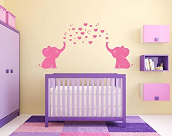 6cbd1aed4612e ARES Cute Pink Elephant Wall Decals, Family Wall Stickers for Kid Room,  Baby Nursery Decor