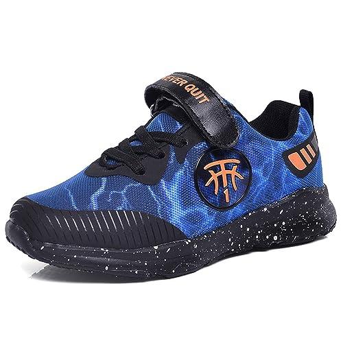 Zapatillas Deportivas para niños Zapatillas de Deporte Azules Grises de la Moda Zapatillas cómodas Antideslizantes Zapatos para Correr: Amazon.es: Zapatos y ...