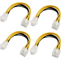 4 Pin Female to 8 Pin Male ATX EPS 12V Motherboard CPU Power Supply P4 Converter Cable - 8inch 【4Pack】 1