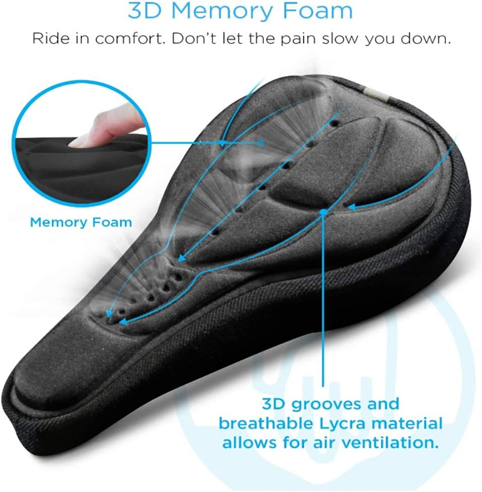 Bounce Free Water Resistant Zhaoyun Bike Seat Cover Padded Cushion with Memory Foam for Bicycle Seat Saddle No Installation Needed Enjoy Longer Rides