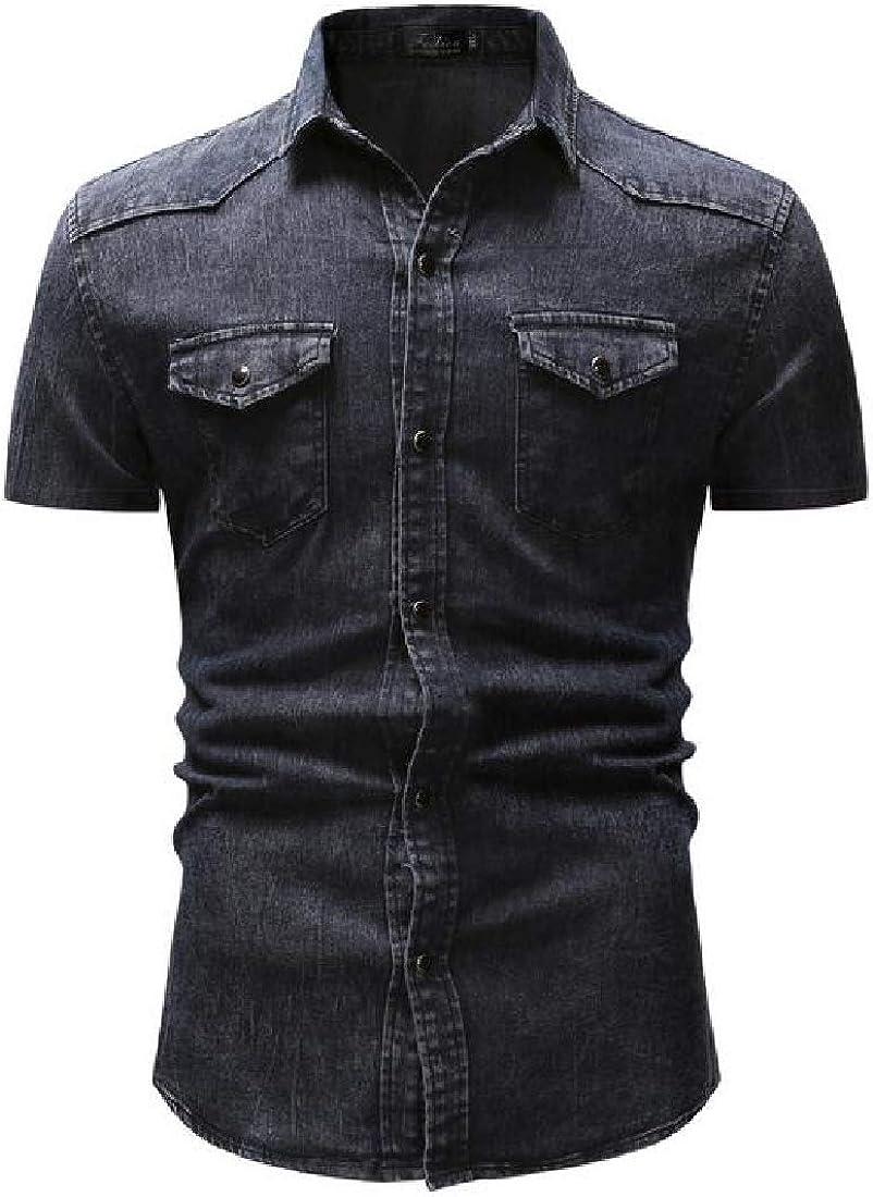 Jotebriyo Mens with Pockets Slim Short Sleeve Button Up Casual Denim Work Western Shirt
