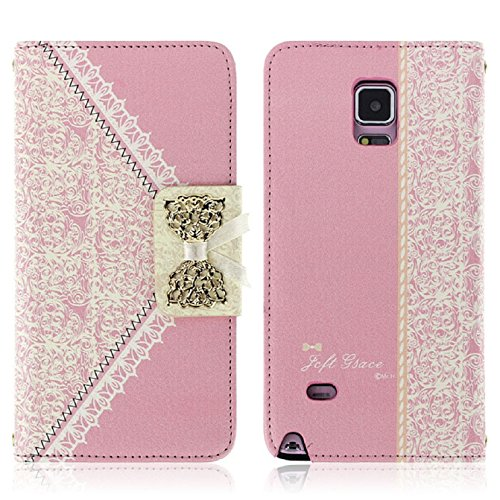 Price comparison product image Sannysis Flip Wallet Leather Case Cover For Samsung Galaxy Note 4 (Pink)
