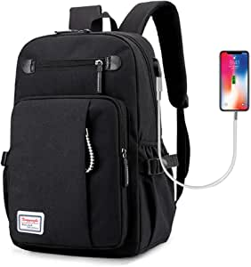 Laptop Backpack Business Rucksack with USB Charging Port College School bookbag Computer Bag School Backpack Casual Daypack for Travel slim Lightweight for Women & Men Fits 15.6 Inch,Black