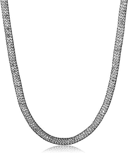 18-Inch Rhodium Plated Necklace with 6mm Crystal Birthstone Beads and Sterling Silver Miraculous Charm.