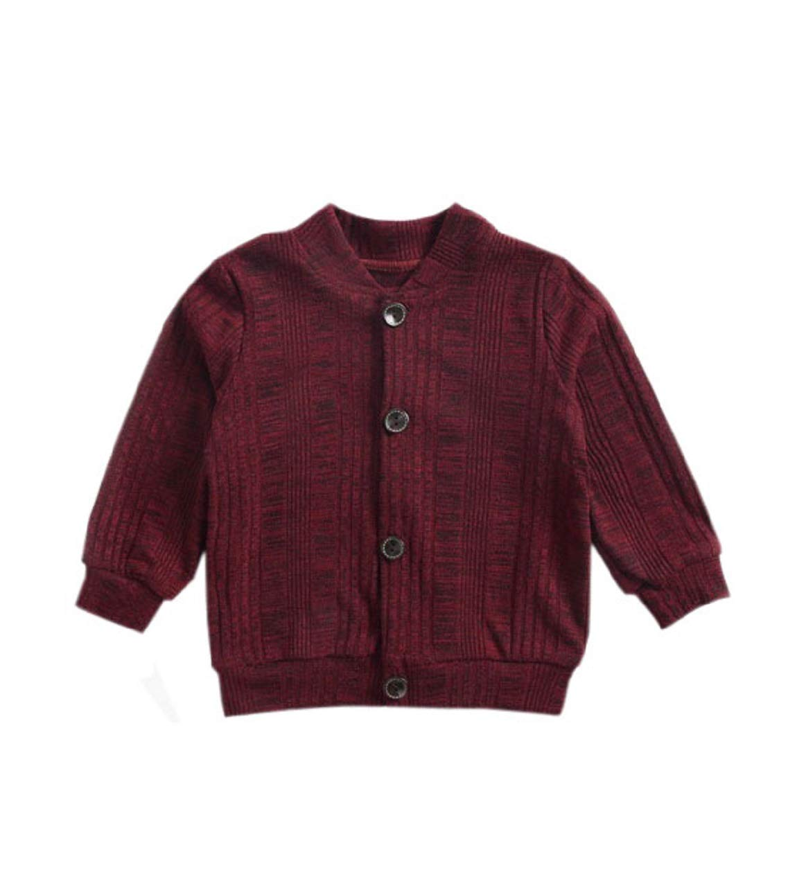 ACVIP Little Girl's Cotton Knit Button Down Solid Color Cardigan (Burgandy,3-4Y)