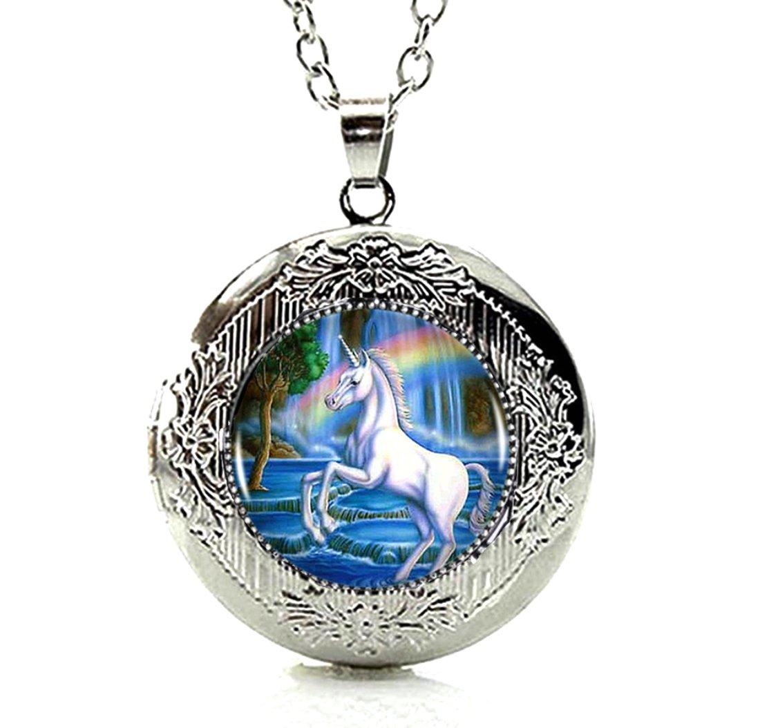 DianaL Boutique Silver Tone Unicorn Horse Rainbow Locket Pendant Necklace Glass Cabochon Art Picture Jewelry