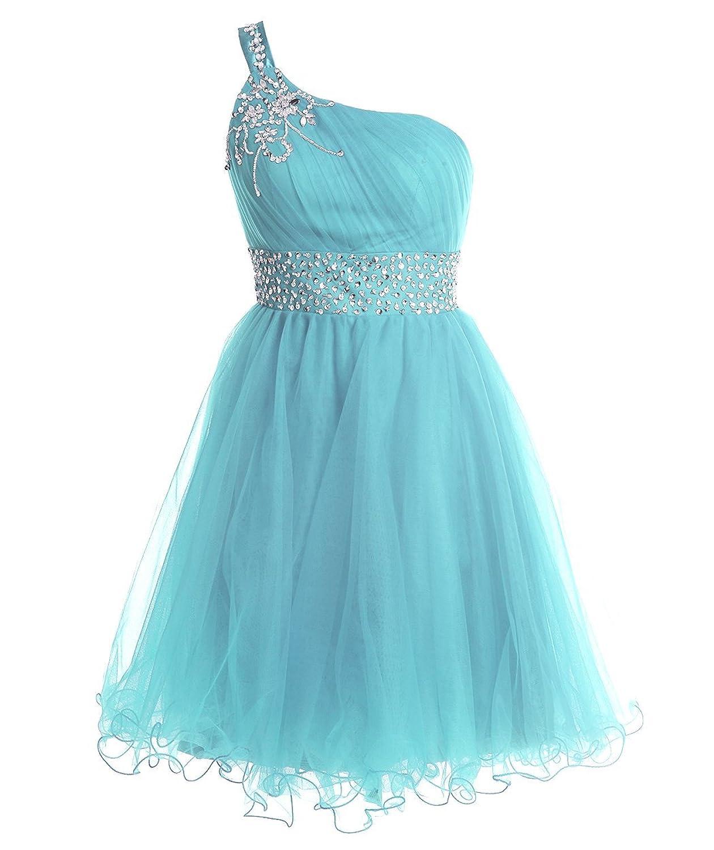 Amazon.com: FAIRY COUPLE One Shoulder Short Homecoming Dress Beaded ...