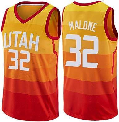 Karl Malone #32 Camiseta De Baloncesto De Los Hombres - NBA Utah Jazz, Nueva Jersey Camisa Sin Mangas Tela,Yellow(B)-L: Amazon.es: Ropa y accesorios