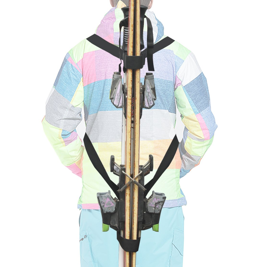 YYST Ski Tote | Skis and Poles Backpack Carrier | Ski and Pole Carry Sling Strap| ski Shoulder Strap -Hold your Poles together -Free your hand! Stronger than One Single Sling.