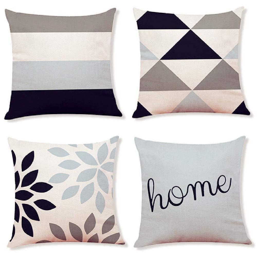 Decemter 4PCS Geometric Tree Leaf Throw Cushion Cover Cotton Linen Pillowcase Home Decoration 18x18 Beige