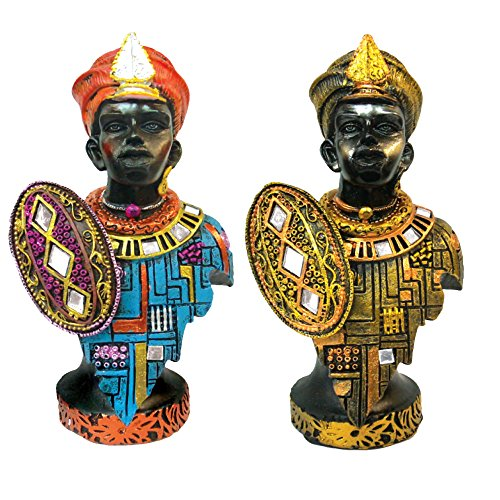 African Figurines - Twin Statues Tribal Men Collectible Antique and Home Decor (Set of 2)