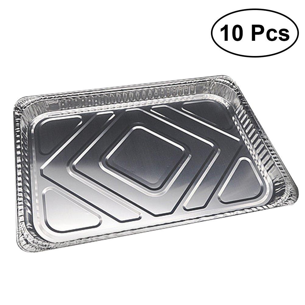 BESTONZON Bandejas de los envases de comida del papel de aluminio 10pcs Bandejas de goteo desechables de la barbacoa: Amazon.es: Hogar
