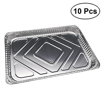 BESTONZON Bandejas de los envases de comida del papel de aluminio 10pcs Bandejas de goteo desechables