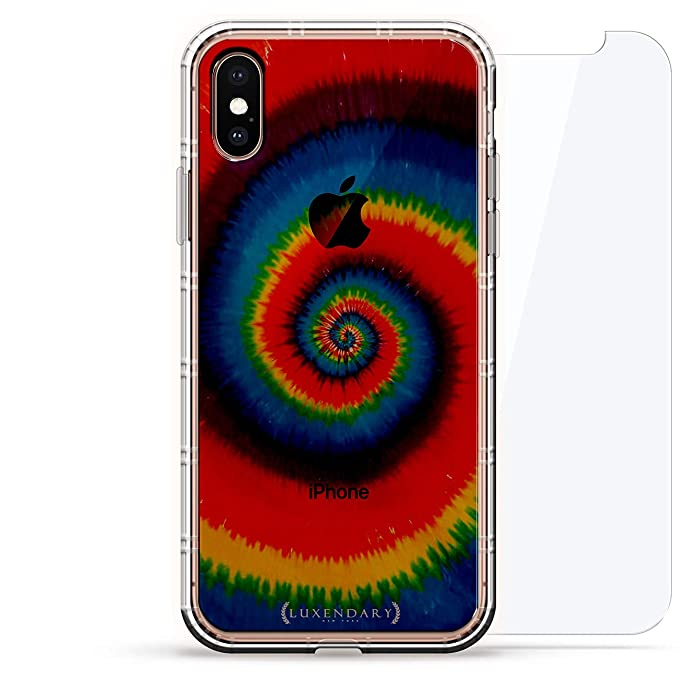Art Spiral Tie Dye Luxendary Air Series 360 Bundle Clear Silicone Case With 3d Printed Design And Air Pocket Cushion Bumper Tempered Glass For