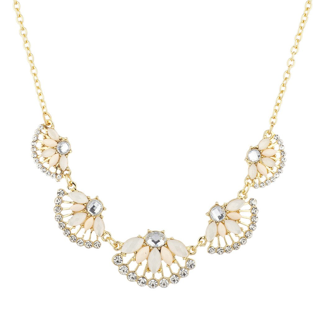 Lux Accessories Peach Ivory and Rhinestone Floral Flower Mini Statement Necklace