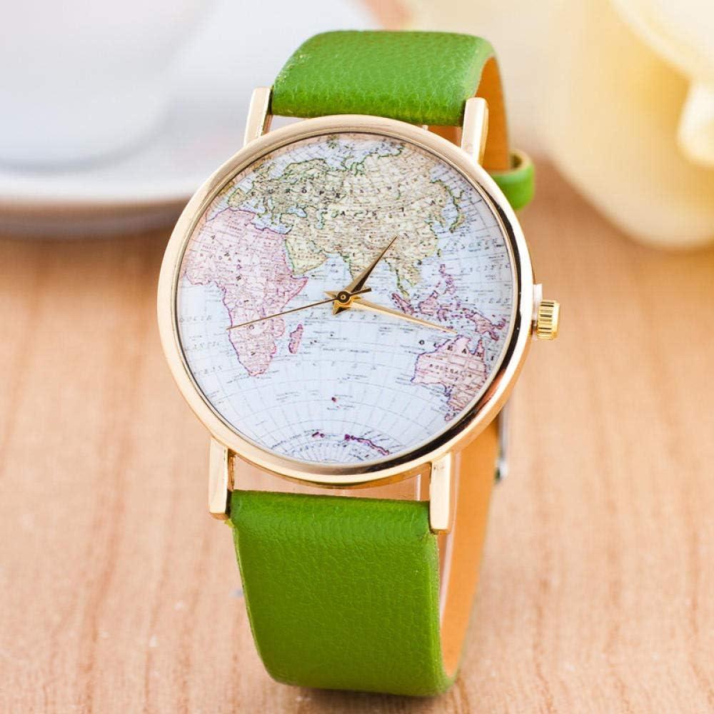 Jyuter12 Reloj para Mujer World Map Reloj De Cuarzo Reloj para Mujer