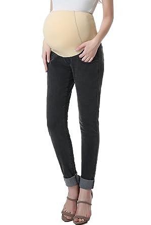 a23f1a829f521 Momo Maternity Womens Stretchy Full Panel Skinny Leg Denim Jeans,Gray,25