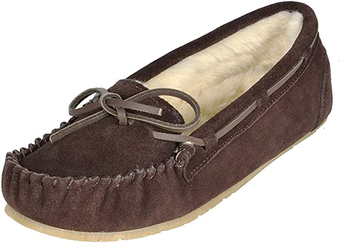 FREE SHIPPING Women/'s Moccasins Slip On Indoor Outdoor Shoe Slipper Fur Loafer