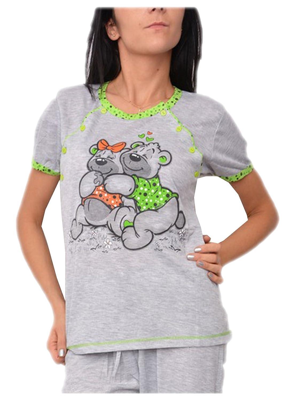 Pixie Still Krankenhaus Schlafanzug Pink - 2-teilig - einfach Futtermittel-Teddy-Motiv