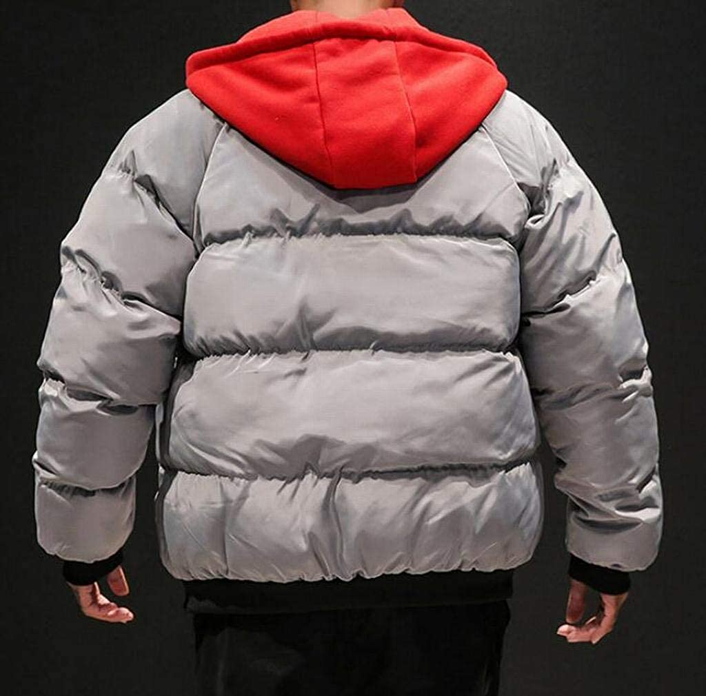 ARTFFEL Men Winter Plus Size Thicker Zipper Relaxed Fit Hooded Down Quilted Coat Jacket Outerwear