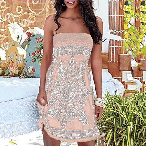 linea SANFASHION Donna a maniche ad Vestito Khaik Senza Bekleidung 11zE6xT