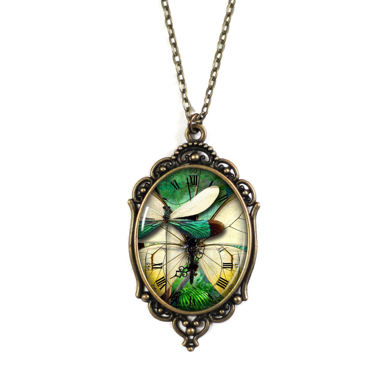Project Pinup Steampunk Green Dragonflies 30x40mm Brass Cameo Filigree Necklace