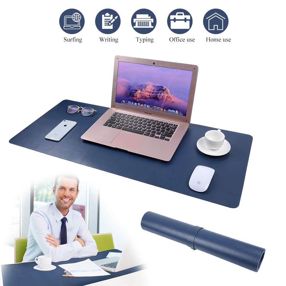 """Desk Pad for Office Home 33"""" x 14"""",PU Leather Waterproof Large Desk Writing Mat Organizer,Multifunctional Ultra Thin Dual Use Desk Blotters Mouse Pad Protector"""