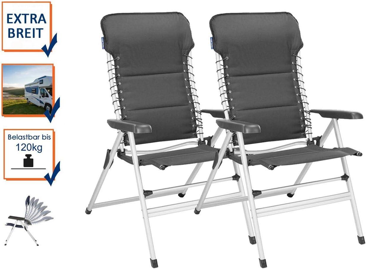Juego de 2 sillas de camping XXL acolchadas, plegables y ...