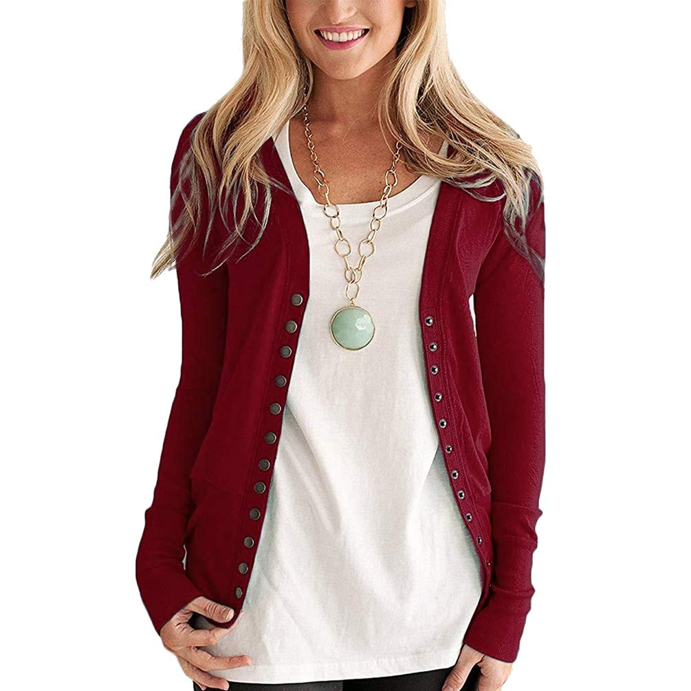 Byqny Women's Tops Ladies Long Sleeve Button Up Top Chunky Cardigan Autumn Coat Outwear