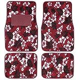 #9: BDK Hawaiian Flower Hibiscus Design Carpet Floor Mats for Car SUV - 4 Piece Set, Secure Backing (Red)