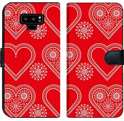 (Liili Premium Samsung Galaxy Note9 Flip Micro Fabric Wallet Case Image ID: 10031635 Seamless red and White Valentine Ornament Pattern with lacy Hearts)