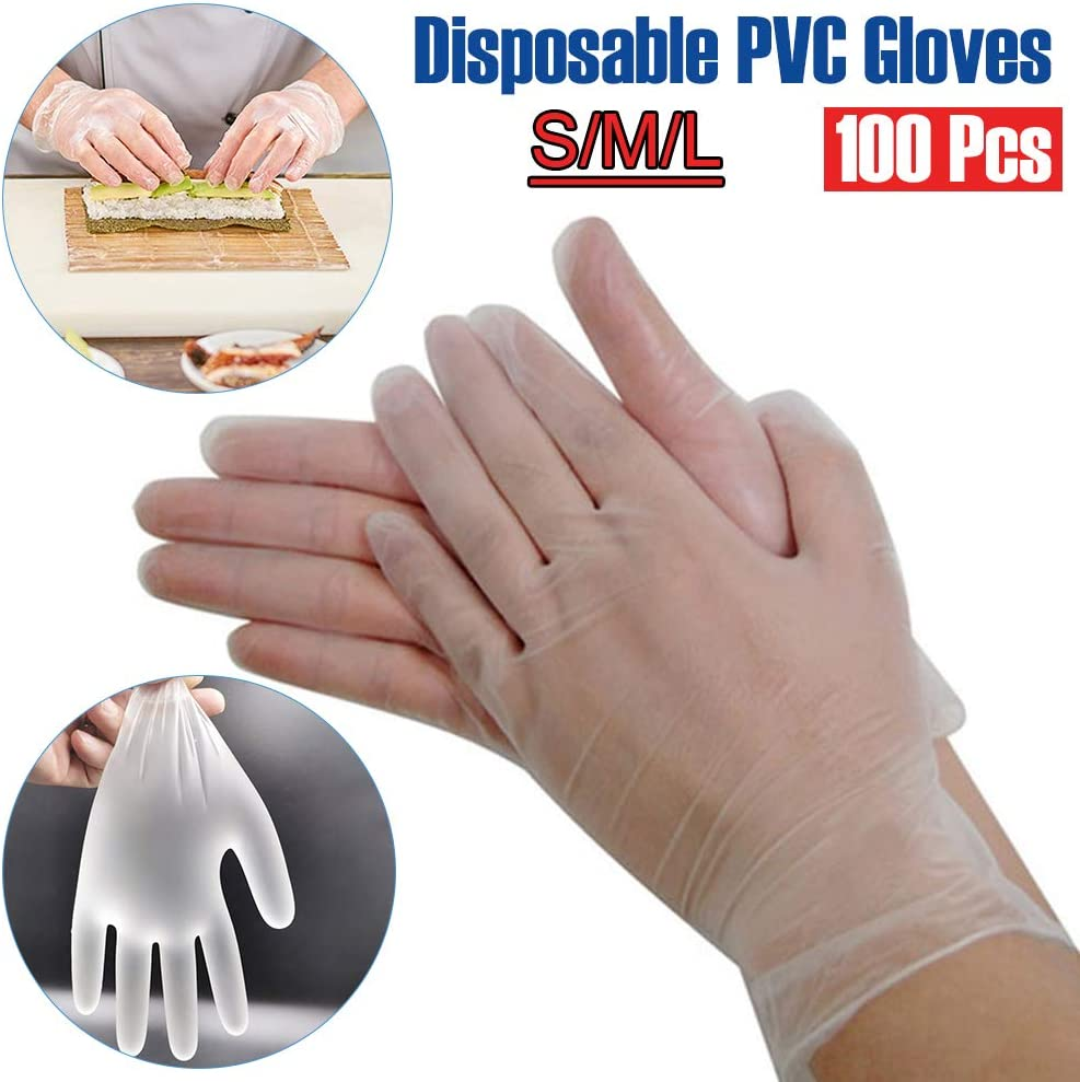 LOVFASH 100pcs Disposable Gloves Transparent PVC Gloves Protective Gloves Labor Insurance Industrial Gloves for Cooking Kitchen BBQ Cleaning