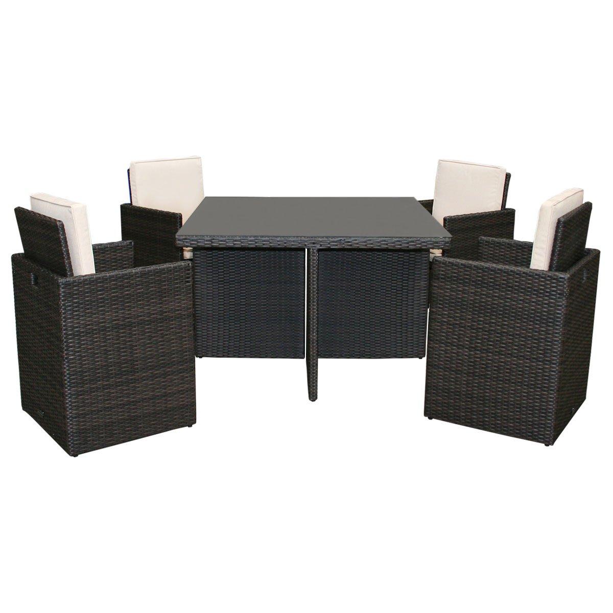 Korbmöbel-Set für Garten - Rattan-Look - Glastisch & 4 Stühle - Braun - 5-tlg.