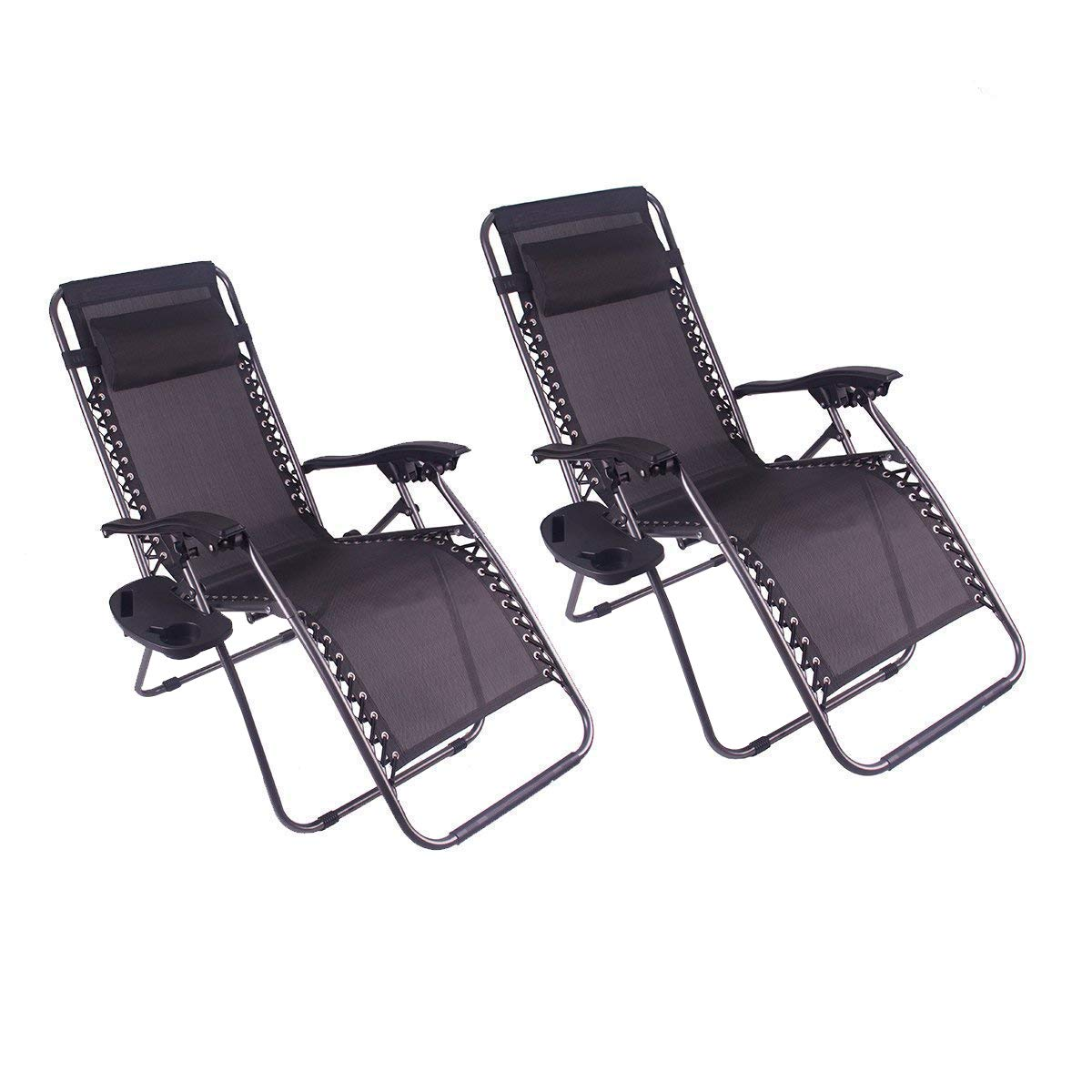 Polar Aurora Zero Gravity Chairs Recliner Lounge Patio Chairs Folding Cup Holder 2 Pack(Black) by Polar Aurora