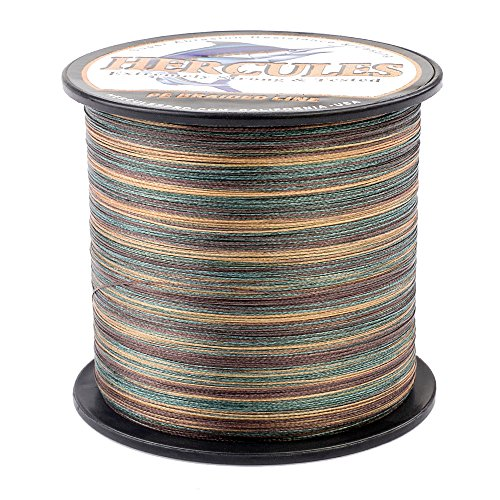 Hercules Braided Fishing Line 1500m 1640yds 6lbs-100lbs Pe Dyneema Superline 4 Strands (Camouflage 10lb/4.5kg 0.12mm) Review