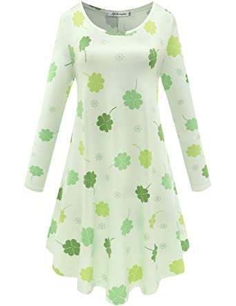 b3f469cc77d Aphratti Women s Long Sleeve St Patricks Pattys Day Clover Print Casual  Flare Swing Dress Four Leaf