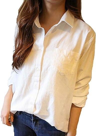Theshy Camisa De Mangas Largas Sueltas Coreanas Color Blanco para Mujer Blanca Mujer, Manga Larga, VersióN Coreana Camisa Casual Holgada.: Amazon.es: Ropa y accesorios