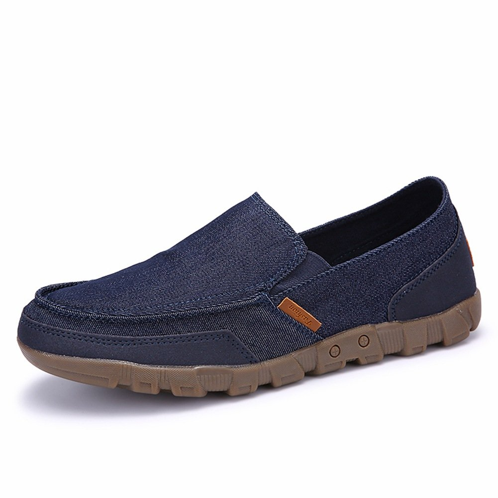 MEAYOU Men's Casual Fashion Loafers Flat Boat Shoes Slip-on Soft Walking Driving Shoes Dark Blue 11 D(M) US/45EU