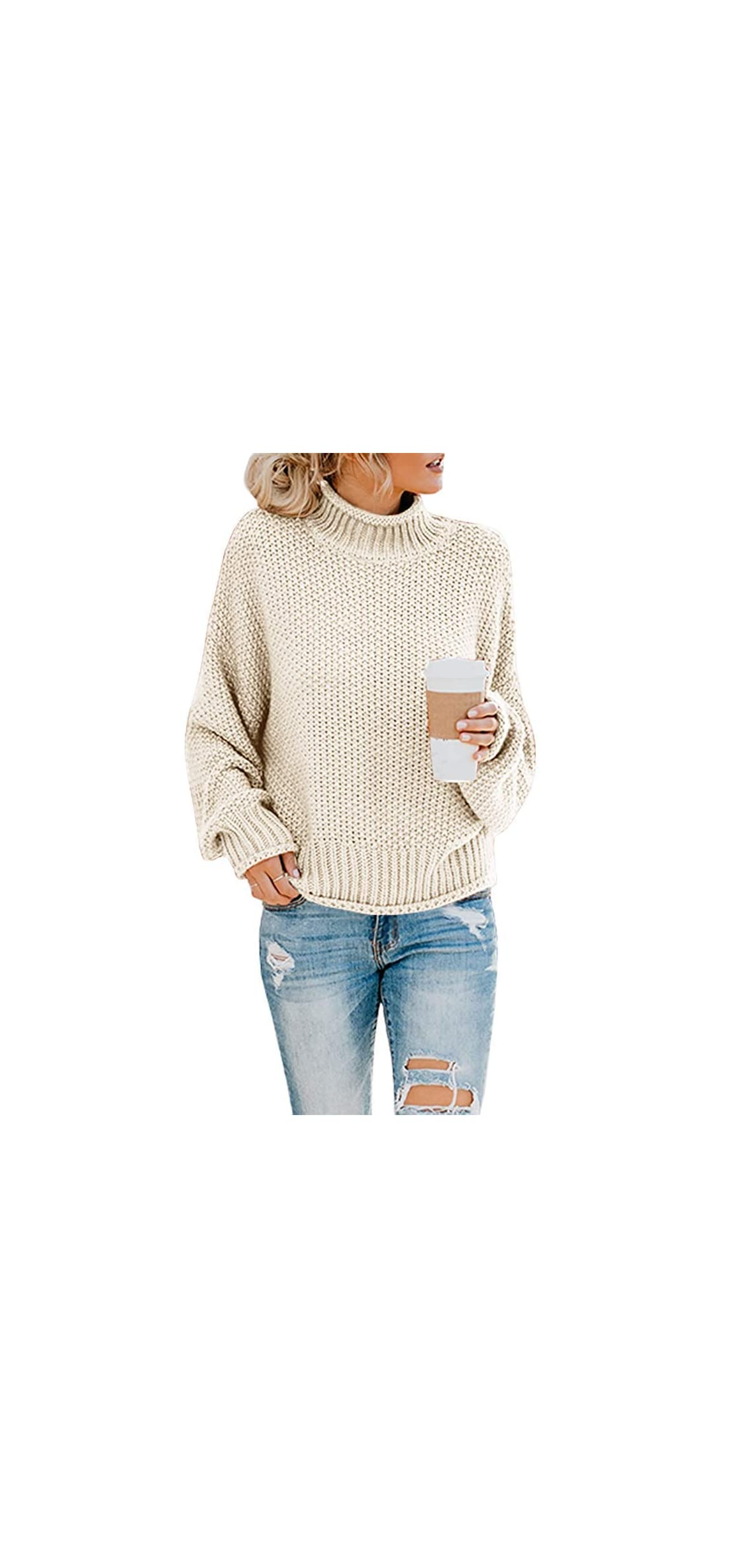 Womens Turtleneck Oversized Sweaters Long Sleeve Baggy