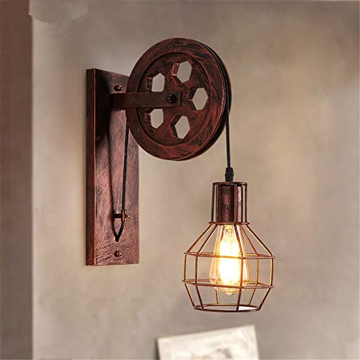 FIONADAN Loft Industrial Wind Retro Wall Lamp Christmas Decoration ...