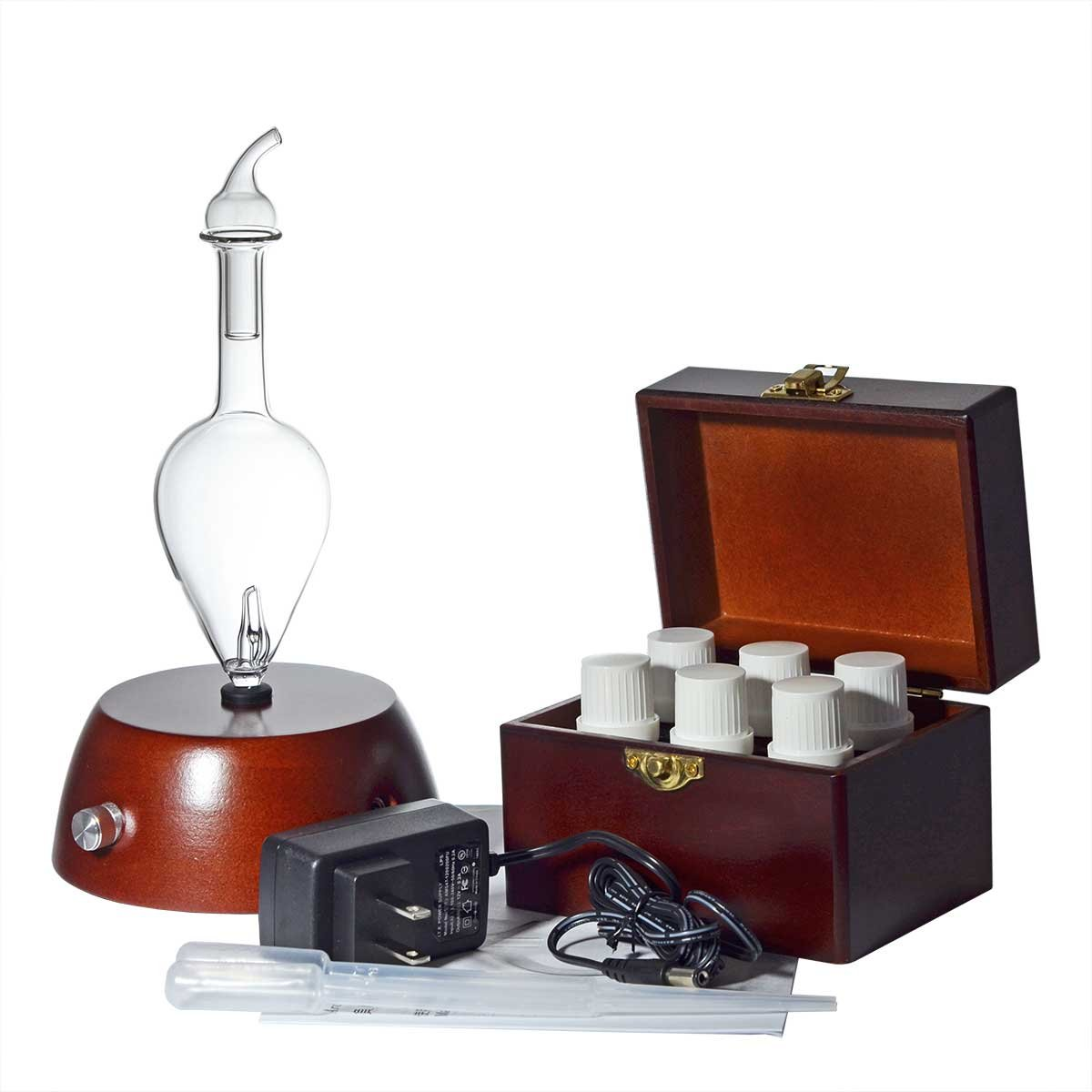 Explorer Aromatherapy Starter Kit By Organic Aromas - Elegance Diffuser and 6 High Quality 100% Pure Essential Oils in 10ml Bottles with Wooden Storage Box